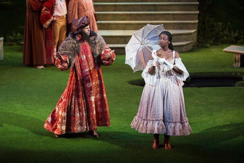 Jonny Orsini as Ferdinand, King of Navarre and Pascale Armand as Rosaline in William Shakespeare's Love's Labor's Lost, directed by Kathleen Marshall, running August 14 - September 18, 2016 at The Old Globe. Photo by Jim Cox.  User Upload Caption: Jonny Orsini as Ferdinand, King of Navarre and Pasc