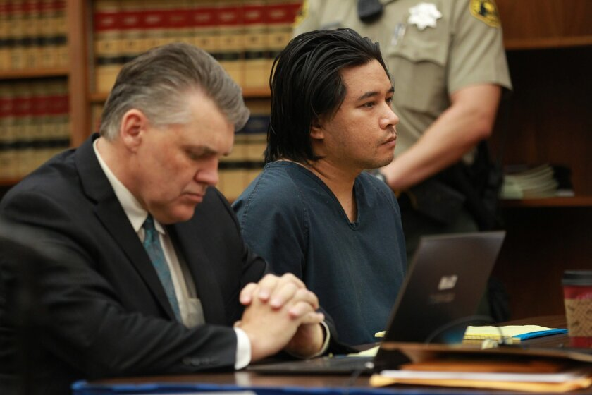 Carlo Mercado, right, is accused of killing Ilona Flint and Salvatore Belvedere, both 22, and Belvedere's older brother, Gianni, 24. At left is his former attorney, Gary Gibson.
