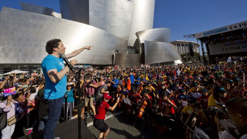 "L.A. Phil Music and Artistic Director Gustavo Dudamel kicks off the ""Celebrate LA!"" CicLAvia event Sunday morning outside the Walt Disney Concert Hall."