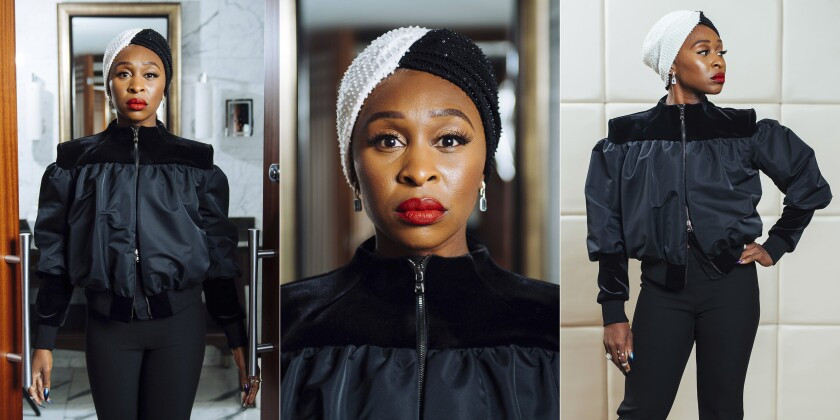 """In this combination photo, actress Cynthia Erivo poses during a portrait session during the Toronto International Film Festival in Toronto on Sept. 10, 2019. Erivo portrays Aretha Franklin in the National Geographic miniseries """"Genius: Aretha."""" (Photos by Arthur Mola/Invision/AP)"""