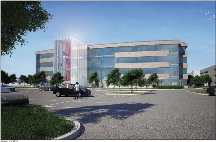 An artist rendering shows a satellite campus Palomar College plans in open in Rancho Bernardo in 2018.