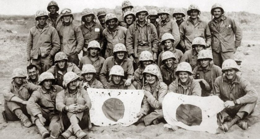 """Iron Mike"" Mervosh is in the back row center, directly in front of the tall man in the back, in a photo of Charlie Company, 24th Marines, 4th Division, at Iwo Jima. (Mike Mervosh)"