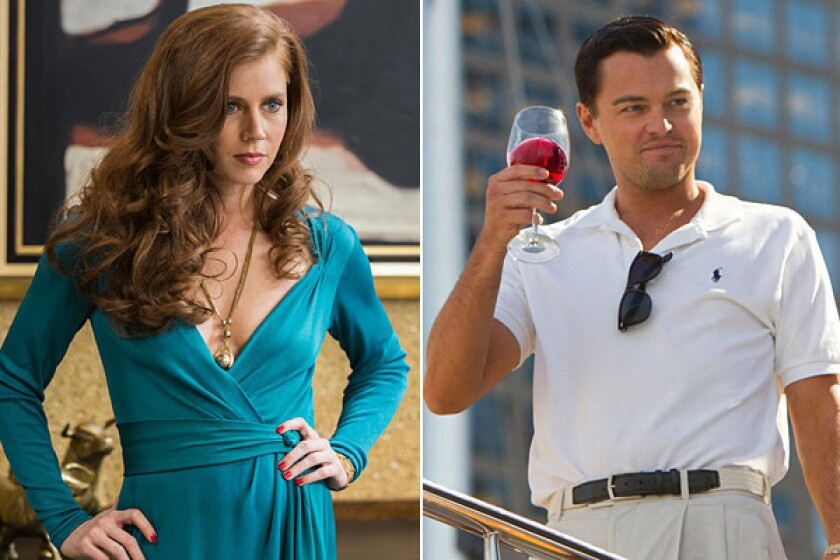 """Amy Adams in """"American Hustle"""" and Leonardo DiCaprio in """"The Wolf of Wall Street."""""""