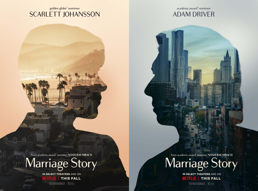 'Marriage Story' movie posters with Scarlett Johansson and Adam Driver