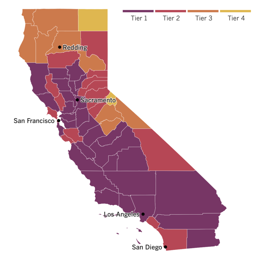 A map showing the tier to which each California county is assigned based on the status of its coronavirus outbreak.