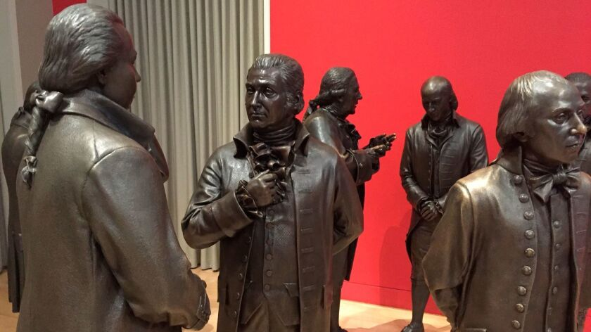 Bronze sculptures of the signers of the U.S. Constitution in the Signers' Hall at the National Constitution Center in Philadelphia.