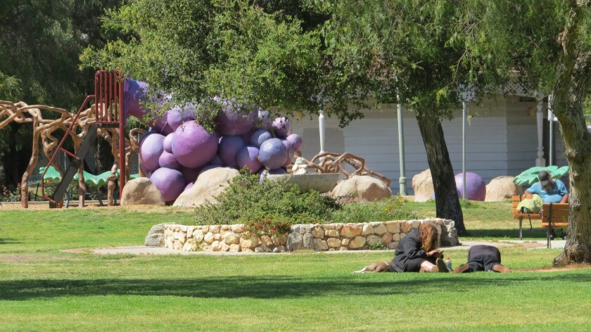 The number of homeless people using Grape Day Park in Escondido has dropped significantly in the las