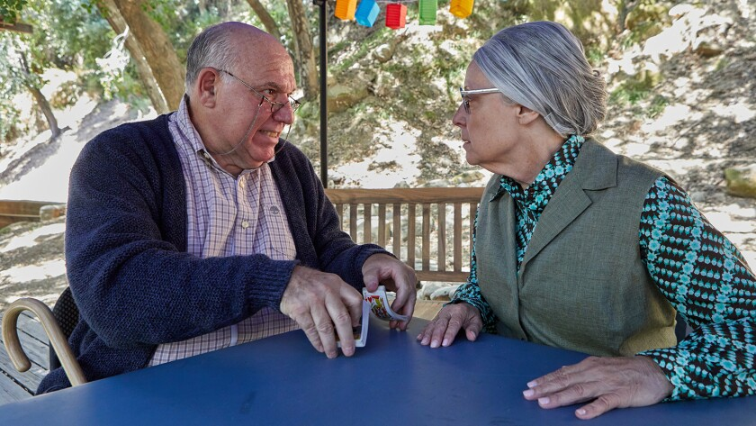 """A simple game of cards becomes a battlefield for two nursing home residents played by Alan Blumenfeld and Katherine James in """"The Gin Game"""" at Will Geer's Theatricum Botanicum."""