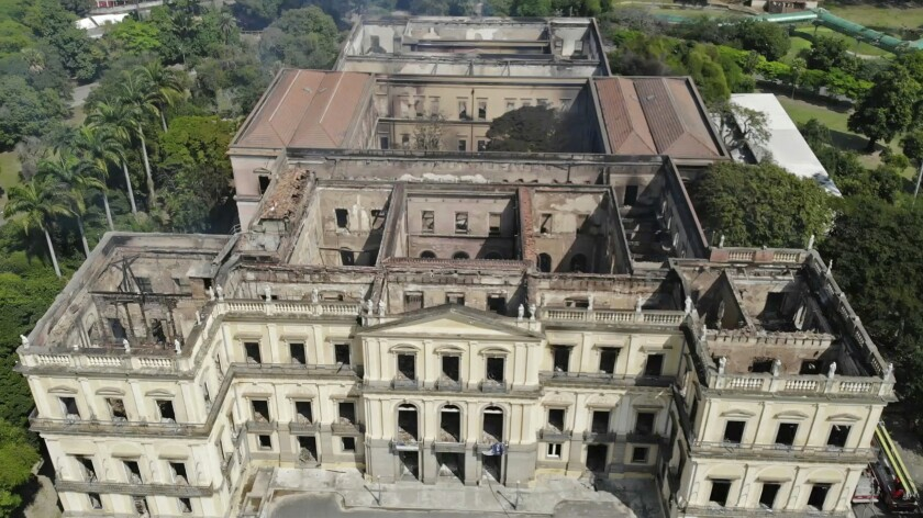 FILE - In this Sept. 3, 2018 file photo, the National Museum stands gutted after an overnight fire in Rio de Janeiro, Brazil. Brazil's Federal Police wrapped up the investigation on Monday, July 6, 2020, into the fire, ruling out any criminal offense, saying the blaze likely started with an air conditioning unit. (AP Photo/Mario Lobao, File)