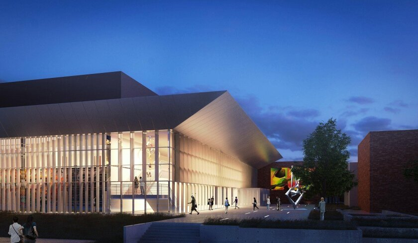 Projects slated for Grossmont College that are funded by Proposition V include the Teaching and Performance Theater portion of the Arts and Communication Complex, shown here in an artist's rendering.