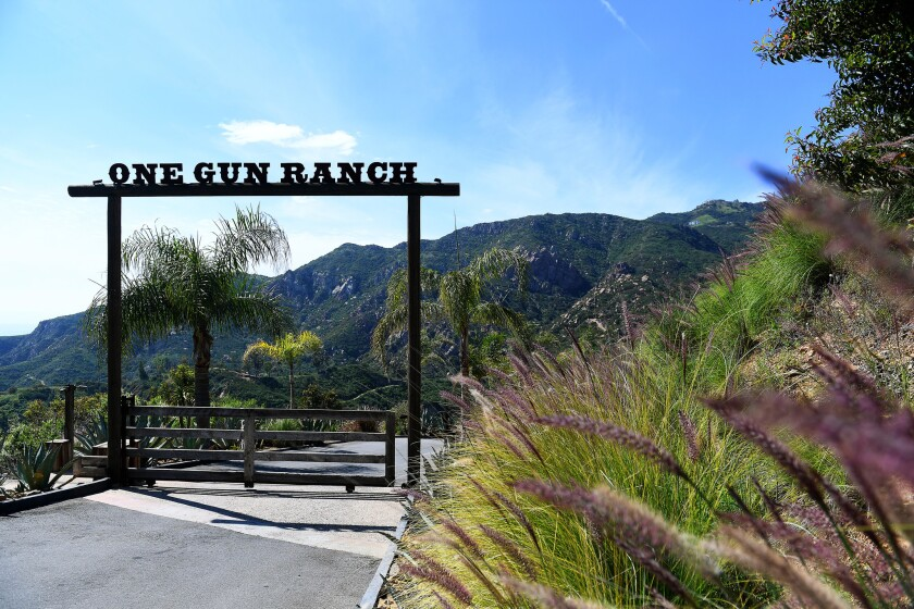 The entrance to One Gun Ranch in Malibu, a 24-acre biodynamic ranch nestled in the mountains overlooking the ocean, where owners Alice Bamford and Ann Eysenring are growing 50 different crops and raising rescued animals.
