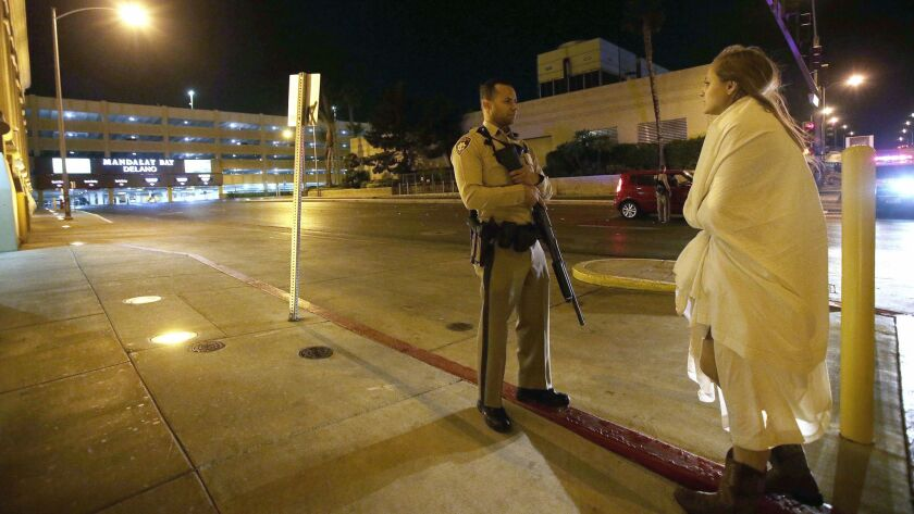 The scene after Sunday's mass shooting at the Route 91 Harvest festival in Las Vegas.