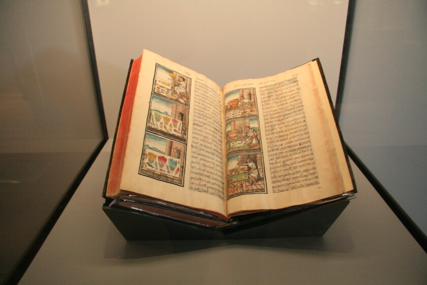 "A volume from the Florentine Codex on view at the Getty Museum in ""Golden Kingdoms"""