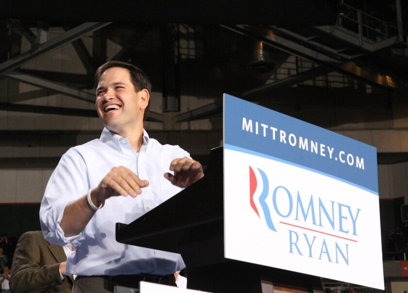 Sen. Marco Rubio of Florida speaks at the University of Miami in October. Rubio, who campaigned for Mitt Romney, will soon visit Iowa, prompting some political observers to ask whether he too has presidential ambitions.