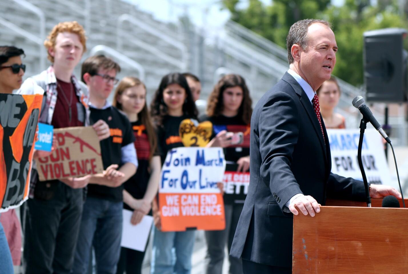 Photo Gallery: Congressman Schiff speaks at Burroughs High rally against gun violence