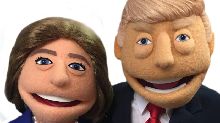 "Hillary and Donald, as rendered by ""Avenue Q"" puppet designer Rick Lyon."