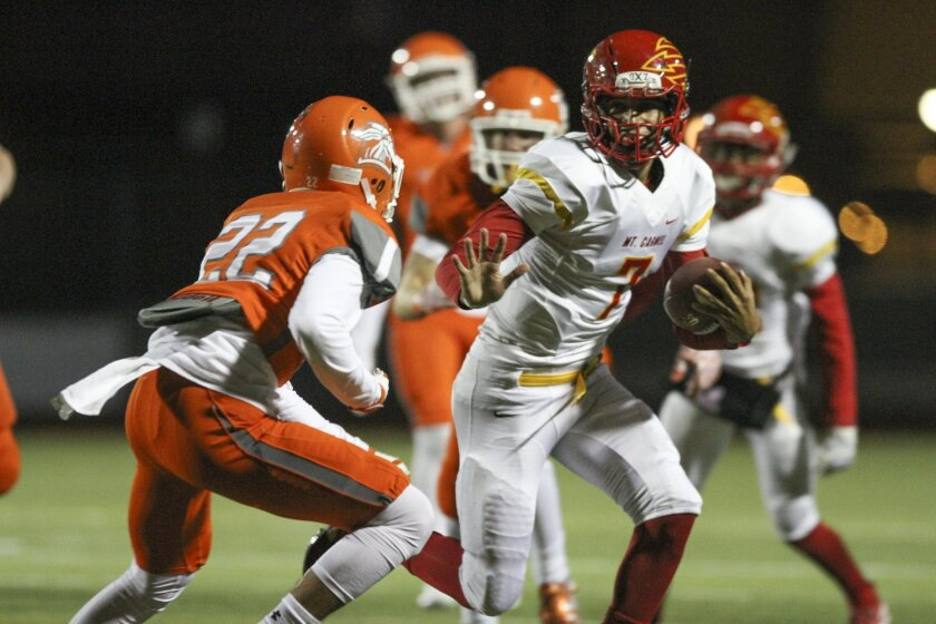 Mt. Carmel quarterback Lucas Johnson threw for 185 yards, with two touchdowns and two interceptions, Friday night against Valhalla.