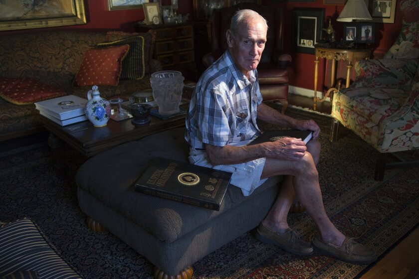 At his home in Chula Vista, George R. Worthington, Rear Admiral (retired) with more than 1600 parachute jumps, selected his home in Chula Vista because it was close to the drop zone located near Otay Lakes.