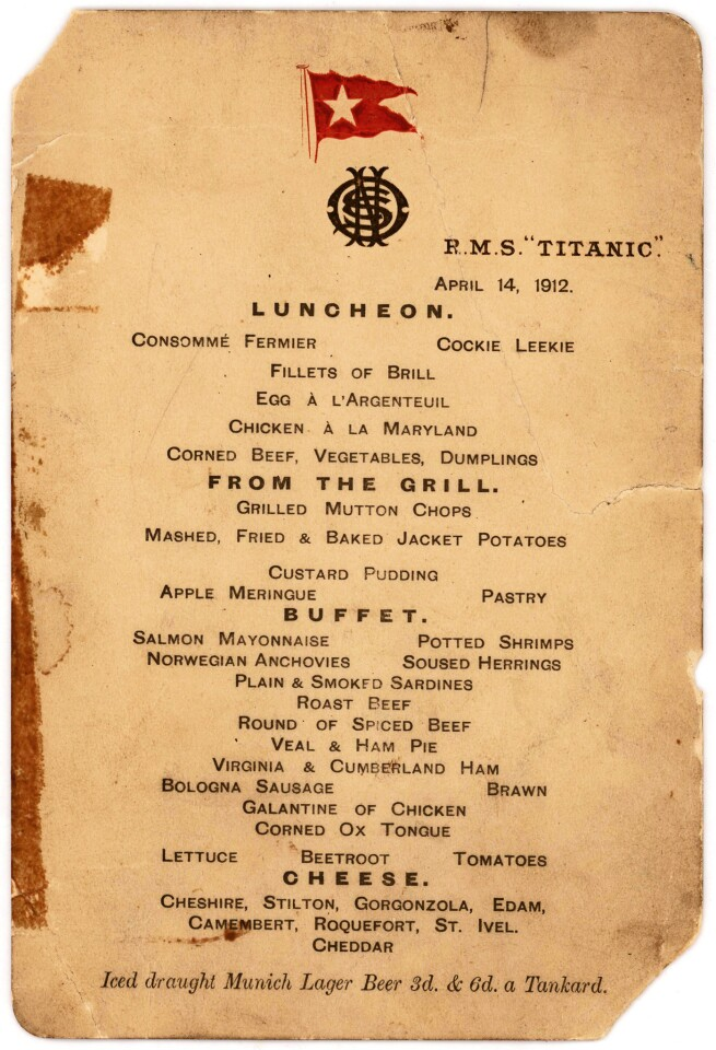 This undated photo provided by Lion Heart Autographs shows the Titanic's last lunch menu, which is going to auction and is estimated to bring $50,000 to $70,000.