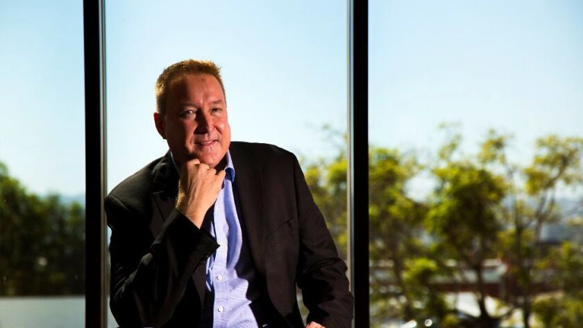 Tom Caldwell, co-founder of CyberFlow Analytics, at his San Diego office. The company has been acquired by Webroot.