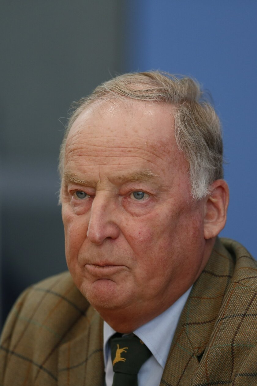 """FILE - In this March 14, 2016 file photo Alexander Gauland of the right-populist party AfD, Alternative for Germany, attends a news conference in Berlin, Germany. Gauland, deputy leader of AfD, was quoted Sunday, May 29, 2016, as telling the Frankfurter Allgemeine Zeitung newspaper: """"People find hi"""