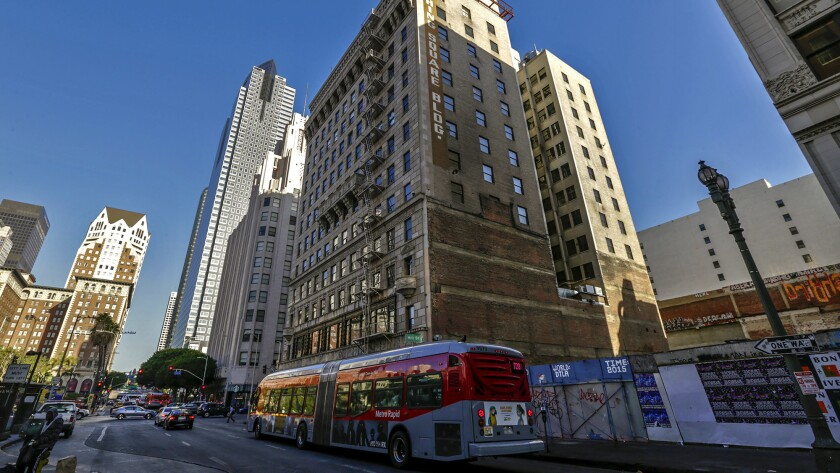 Developer Jeffrey Fish plans to build a slender tower on an empty lot next to the Pershing Square Building on the corner of 5th and Hill streets in downtown L.A.