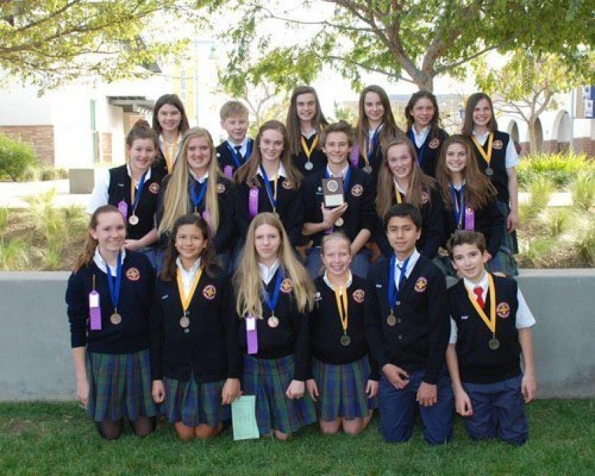 The Nativity School's 2013 Academic Decathlon team members.