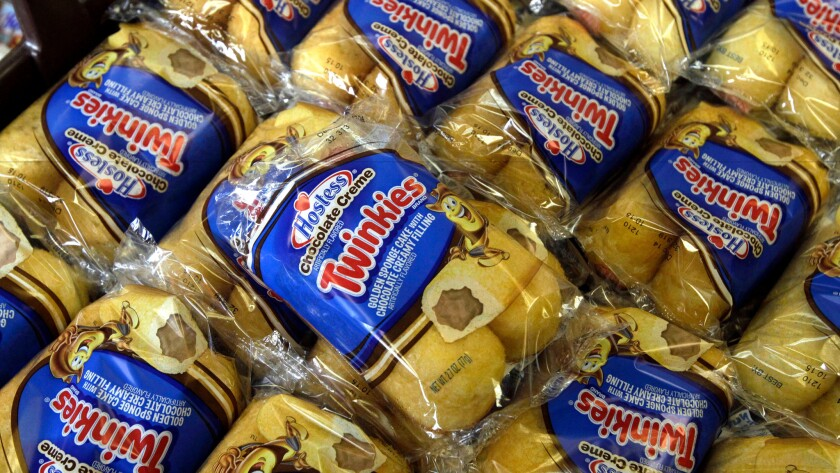Twinkies baked goods are displayed for sale at the Hostess Brands' bakery in Denver.