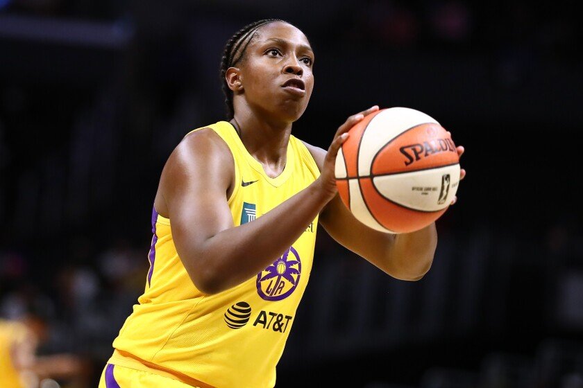 Sparks guard Chelsea Gray shoots a free throw against the Minnesota Lynx on Aug. 20.