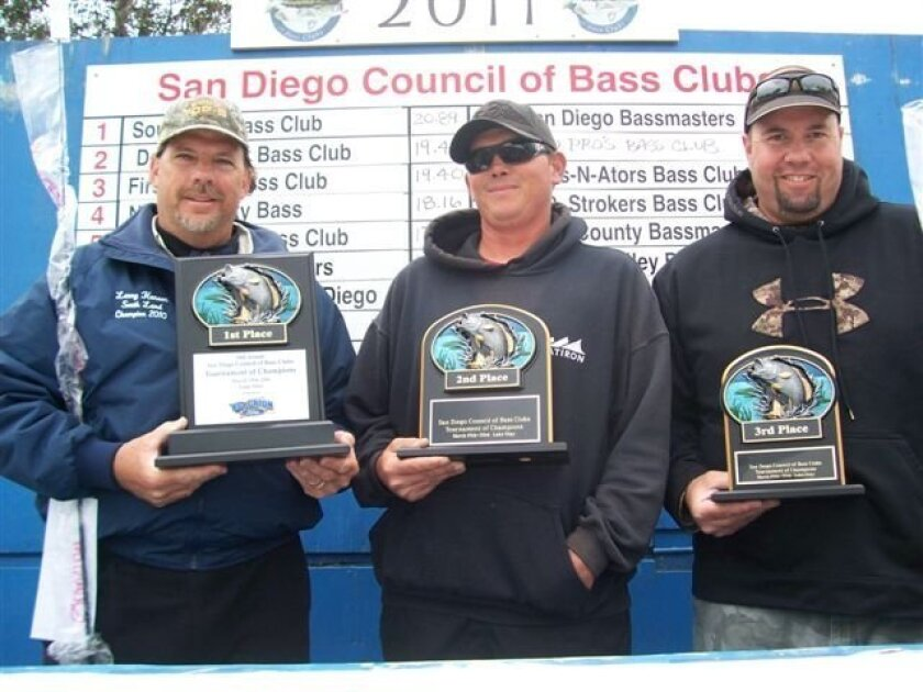 Larry Henson (left), Jesse Hinkley (center) and Keith Silva were the top three finishers in the San Diego Council of Bass Clubs Tournament of Champions over the weekend.