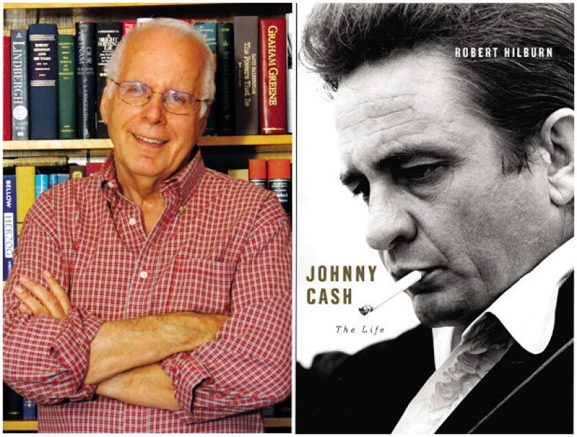 """Author Robert Hilburn and the cover of his book, """"Johnny Cash: The Life."""""""
