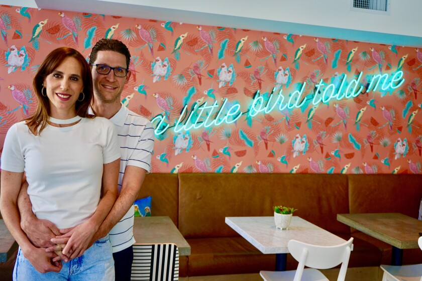arried restaurateurs Carol Roizen and Jonathan Goldwasser at their third Parakeet Cafe at the One Paseo project in Del Mar.