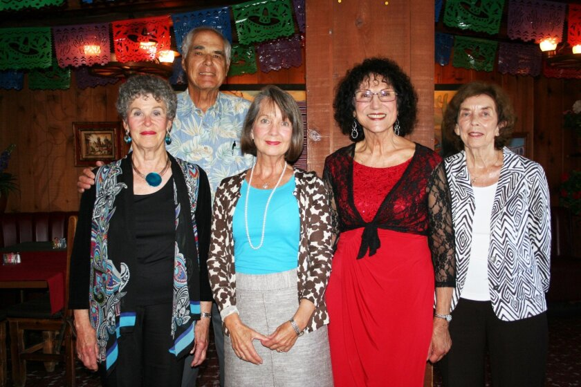 Recording Secretary Suellen Lodge, Treasurer Tom Golich, Corresponding Secretary Cindi Clemons, President Virginia Garland, Vice President Pat Smart of the Solana Beach Civic and Historical Society.