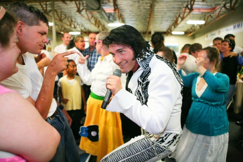 """Even though he has moved up to Los Angeles, James """"King"""" Kruk still drives back to San Diego County to perform as Elvis at events held by TERI Inc., an Oceanside-based nonprofit that serves adults and children with intellectual and developmental disabilities."""