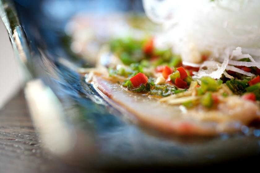 A yellowtail dish from Sushi Roku, which has a new gluten-free menu.