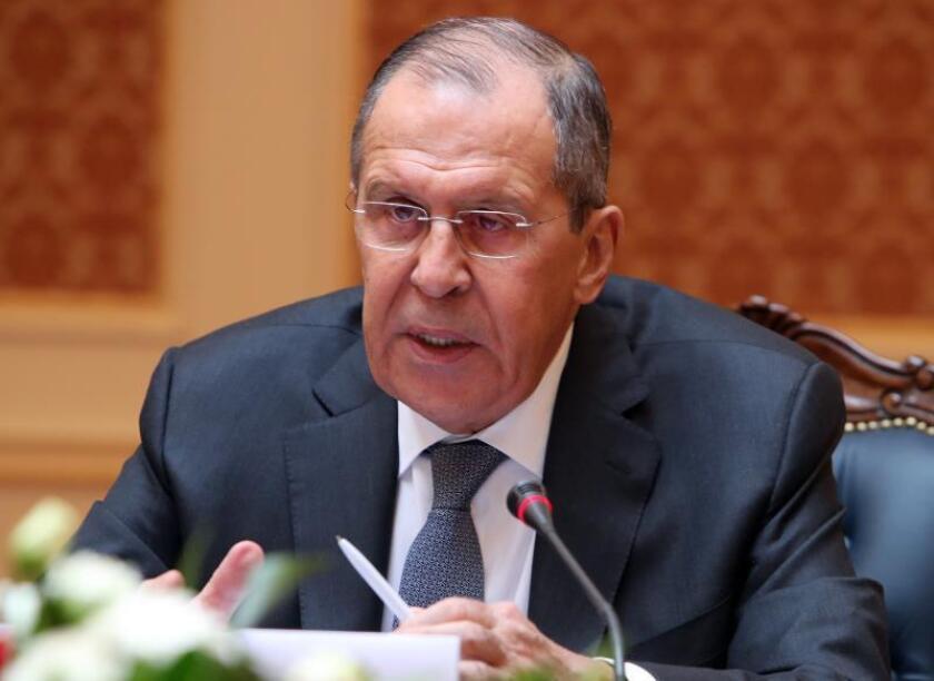 Russia's Foreign Minister Sergei Lavrov speaks during his meeting in Bishkek, Kyrgyzstan, Feb. 4, 2019. EPA-EFE/IGOR KOVALENKO