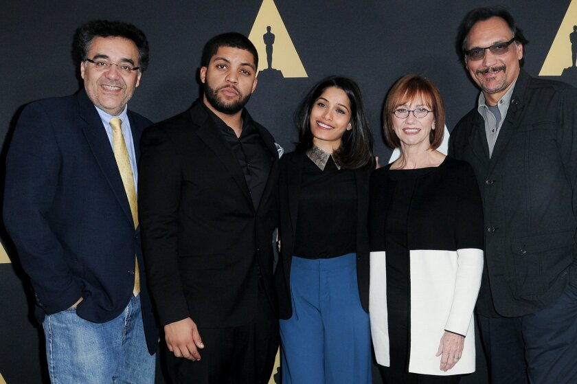 Director Rodrigo Garcia, from left,aActors Freida Pinto, O'Shea Jackson, Jr., Kathy Baker and Jimmy Smits attend the Academy Nicholl Fellowships Awards Presentation and Live Read held at the Samuel Goldwyn Theater on Wednesday, Nov. 4, 2015, in Beverly Hills, Calif. (Photo by Richard Shotwell/Invis