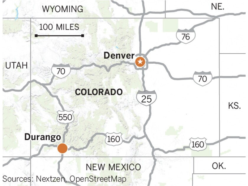 Map of Denver and Durango in Colorado