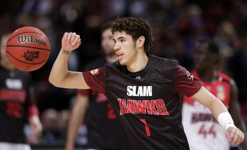 LaMelo Ball warms up before a game with the Illawarra Hawks of the Australian Basketball League last season.