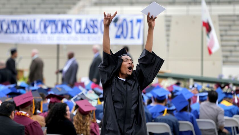 An LAUSD graduating senior participates in a ceremony at East Los Angeles College on June 7, 2017.