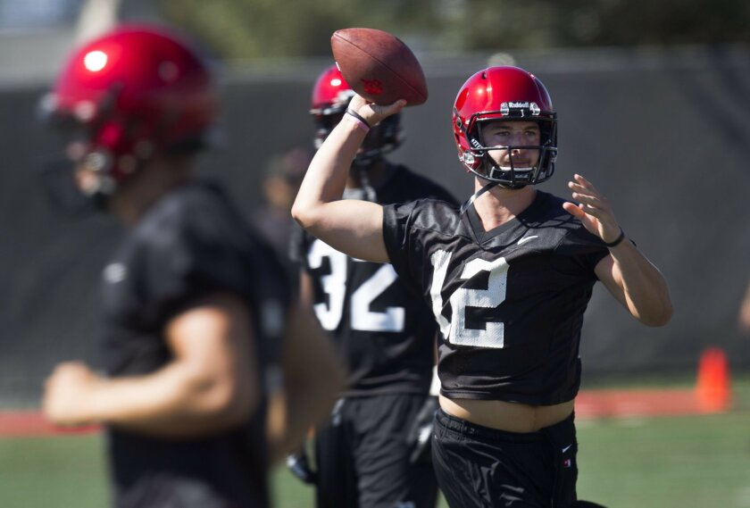 The San Diego State Football team practiced Tuesday at their practice facility. Quarterback Brad Odeman during practice.