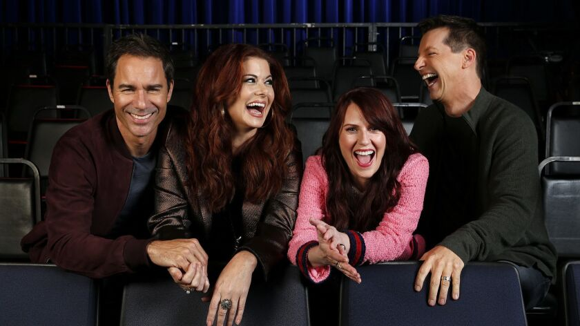 """The cast for the television series, """"Will & Grace,"""" Eric McCormack from left, Debra Messing, Megan Mullally, and Sean Hayes, are photographed in the audience bleachers of the set at Universal Studios Hollywood in Universal City on September 7, 2017."""