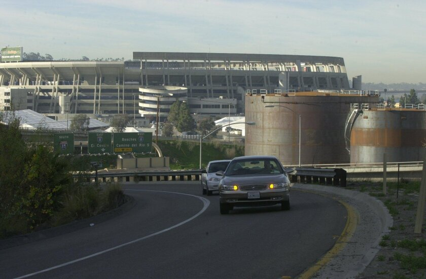 User Upload Caption: This 2003 file photo shows the Kinder Morgan petroleum tank farm at Qualcomm Stadium. It has been in operation since 1962.