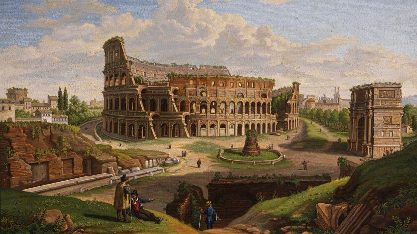 Domenico Moglia, The Colosseum, circa 1850, Glass micromosaic on marble, Glass micromosaic on marble