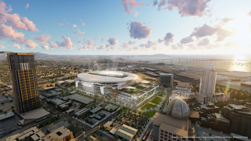 The Chargers' latest design for a downtown stadium includes a convention center building, roof garden and park.