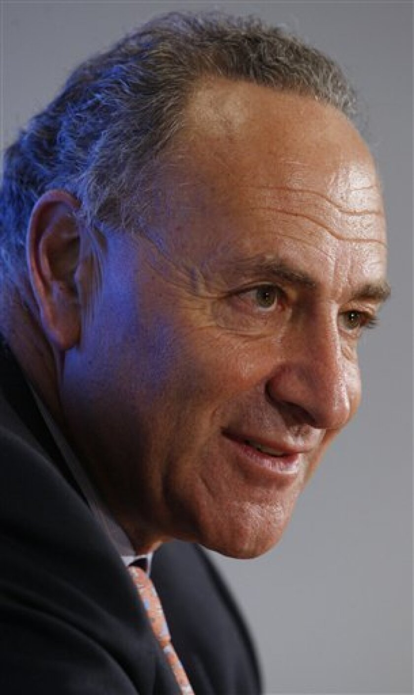 Sen. Charles Schumer, D-N.Y., answers questions during his interview with the Associated Press in Washington, Wednesday, July 8, 2009. (AP Photo/Pablo Martinez Monsivais)