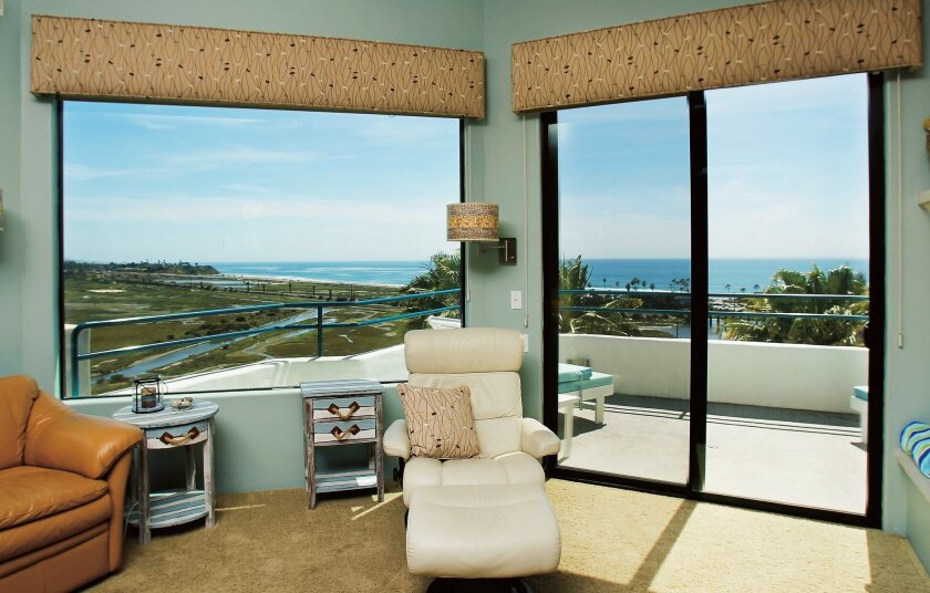 The Sutcliffes' townhouse has 180-degree ocean views from three levels. This is the living room view.