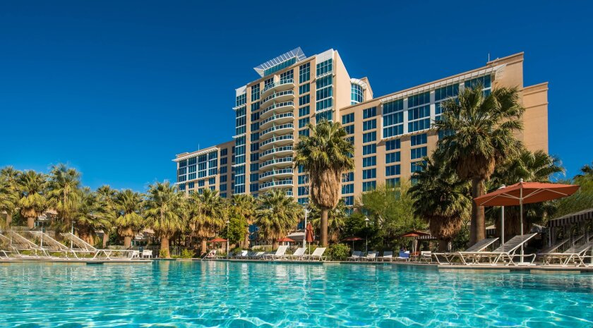 Agua Caliente Casino Resort & Spa, one of six casinos in the Palm Springs area, is a full-scale resort that features a 50,000-square foot pool area.