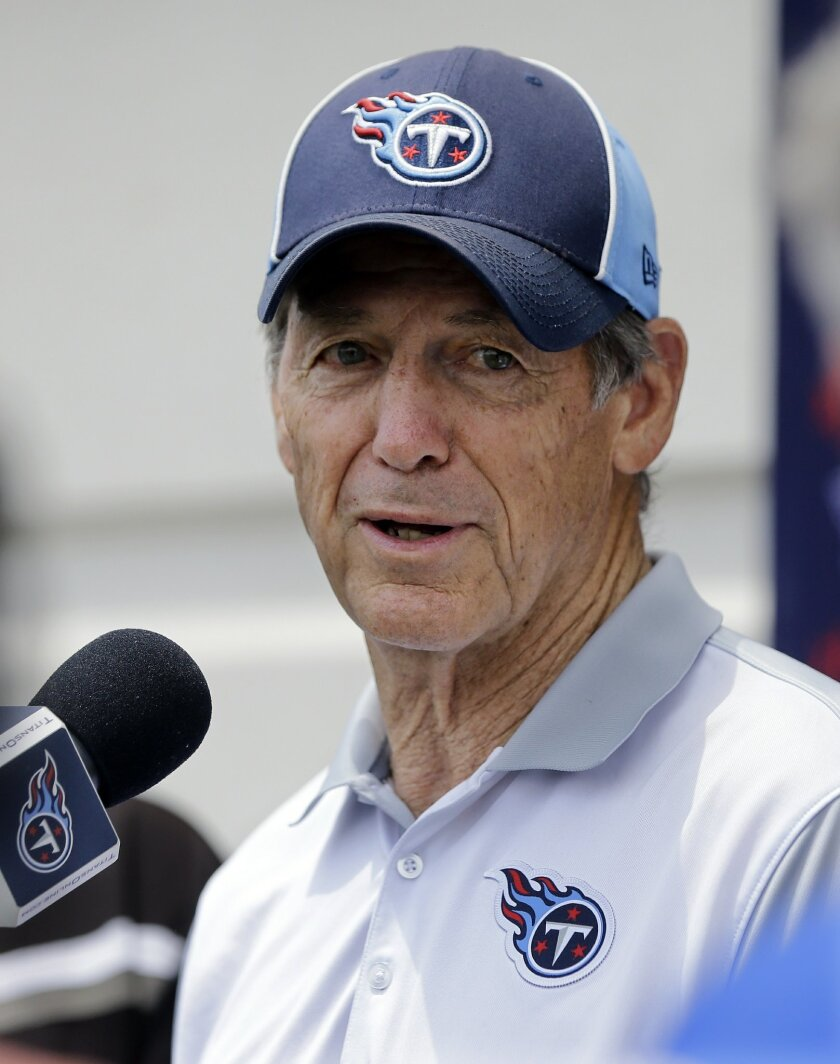 Tennessee Titans defensive coordinator Dick LeBeau answers questions following  NFL football practice Thursday, May 26, 2016, in Nashville, Tenn. LeBeau now is the man fully in charge of Tennessee's defense after Ray Horton left for Cleveland. The Titans have brought in plenty of players to help hi