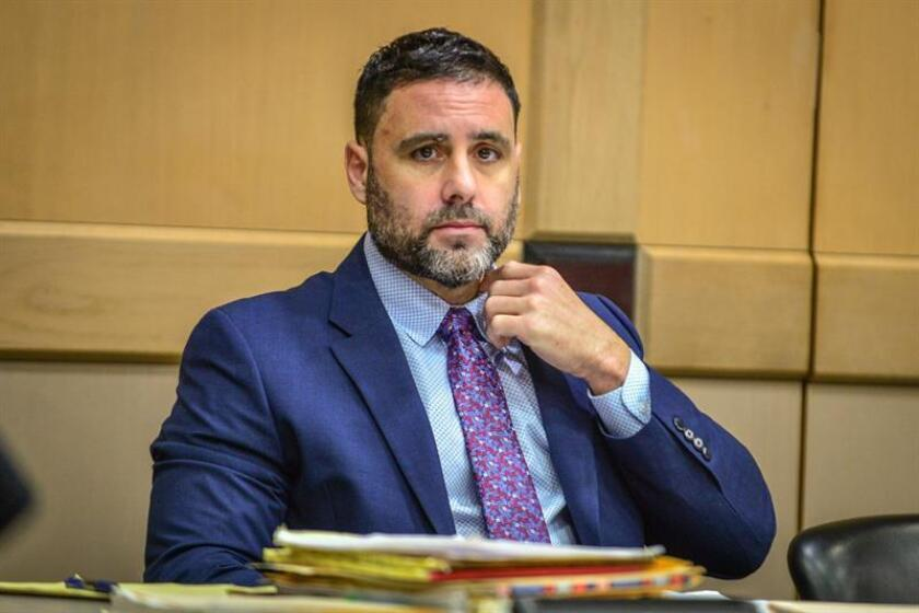 El hispano-estadounidense Pablo Ibar asiste hoy a la fase oral del cuarto juicio al que es sometido, en el tribunal del condado Broward, en Fort lauderdale, Florida (EE.UU.). EFE